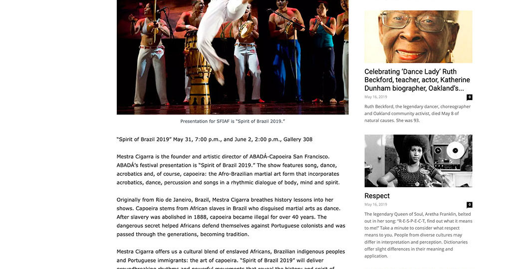 Spirit of Brazil Press Coverage - ABADÁ-Capoeira San Francisco